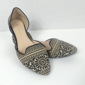 Restricted sz 6 Black & Nude Pattern D'Orsay Flats